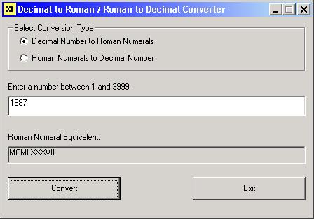Roman Numerals, convert numbers and Dates into Roman numerals