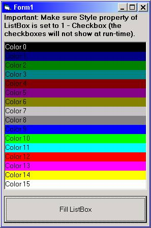 COE : Forums : Listbox Itemcolor